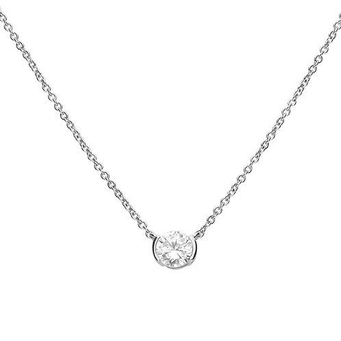 Semi Bezel Set Zirconia Necklace