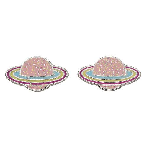 Pink Planet Stud Earrings with Glitter Enamel