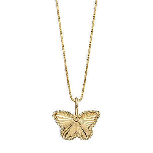 9ct Yellow Gold Diamond Cut Butterfly Necklace