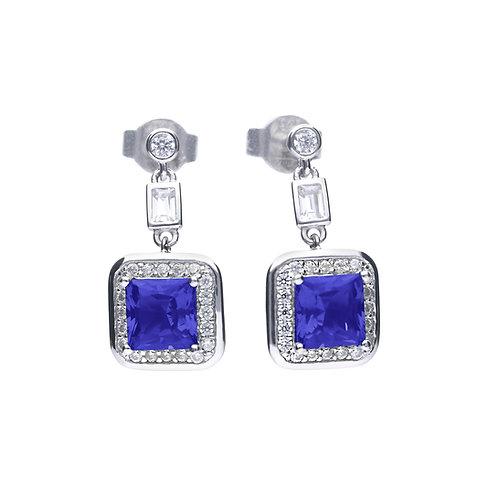 Sapphire Blue Zirconia Square Drop Earrings