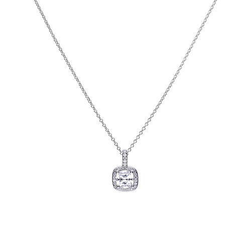 Square Solitaire and Pave Set Zirconia Necklace