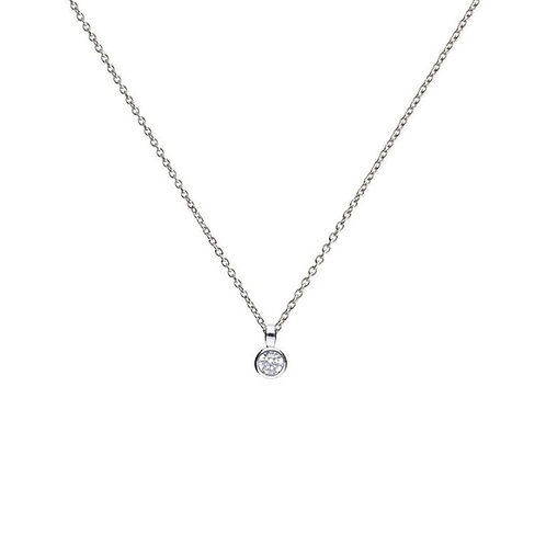 Bezel Set 0.25ct Zirconia Solitaire Necklace