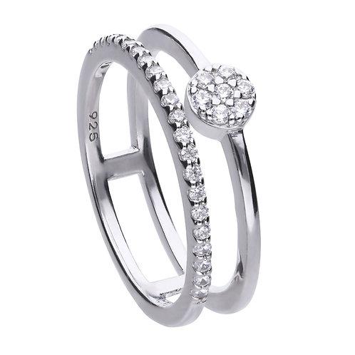 Zirconia Set Double Band Ring