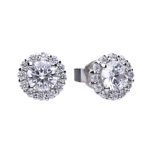 Round Zirconia Cluster Earrings