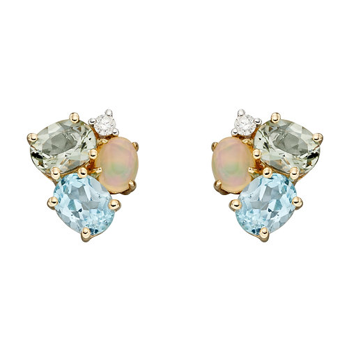 9ct Yellow Gold Multi Stone Cluster Stud Earrings
