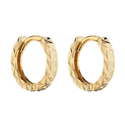 9ct Yellow Gold Diamond Cut Small Hoop Earrings