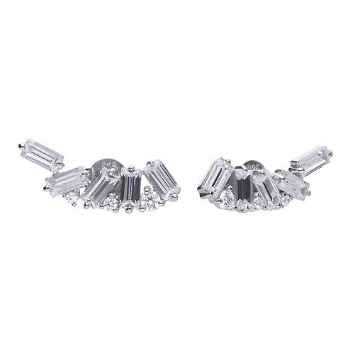 Baguette Crawler Stud Earrings