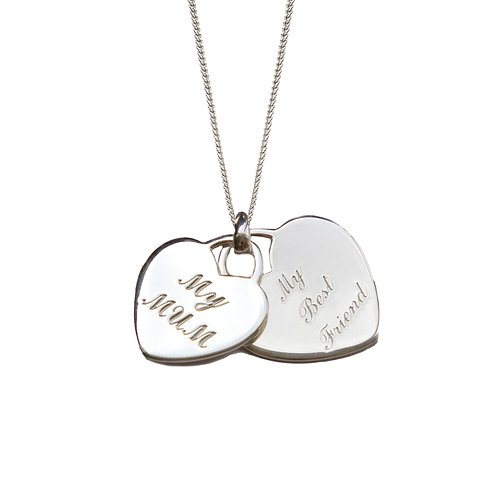 My Mum, My Best Friend Engraved Double Heart Necklace
