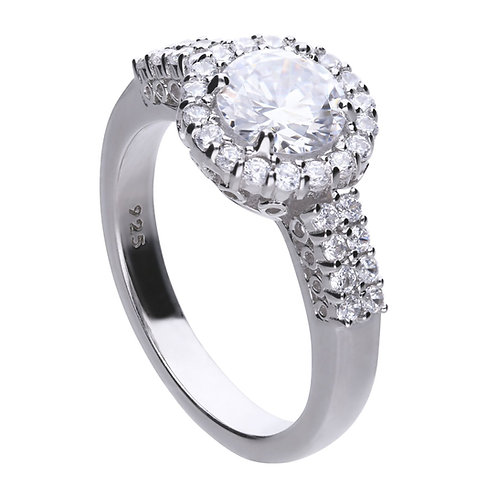 Double Pave Set Zirconia Solitaire Ring