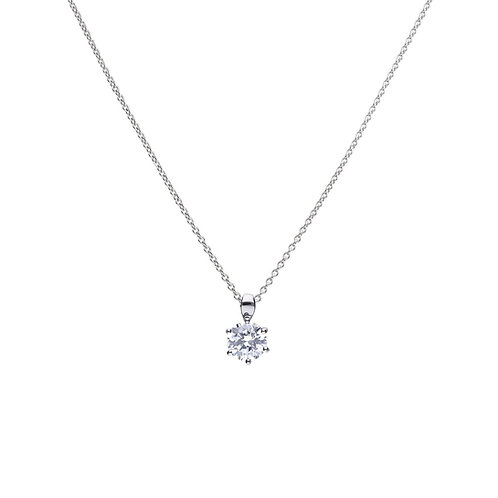 Claw Set 2ct Zirconia Solitaire Necklace