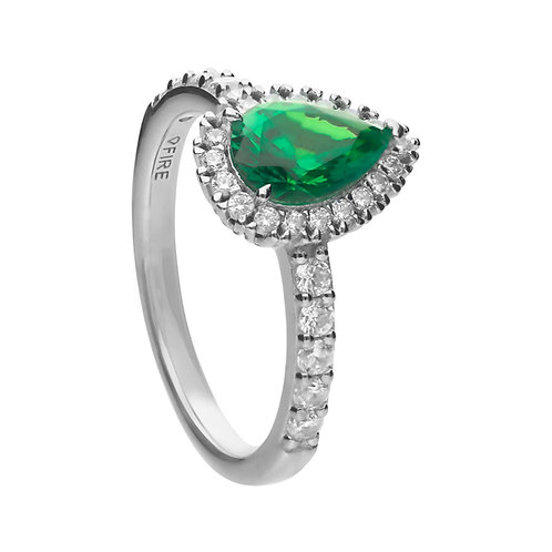 Green Zirconia Teardrop Ring with Pave Surround
