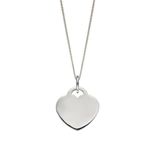 Sterling Silver Plain Heart Necklace or Charm