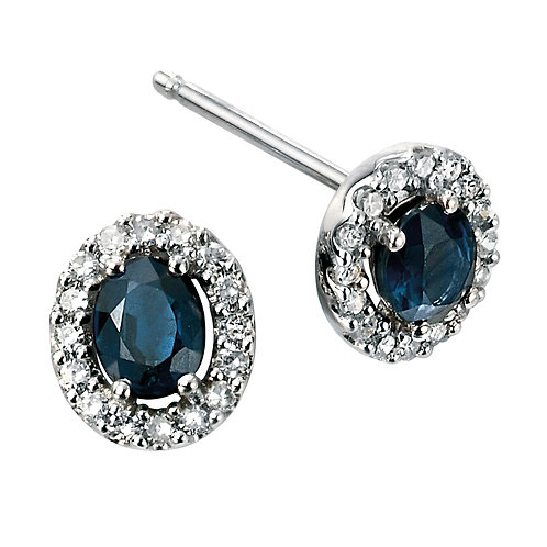 Precious Stone and Diamond Cluster Earrings in 9ct White Gold