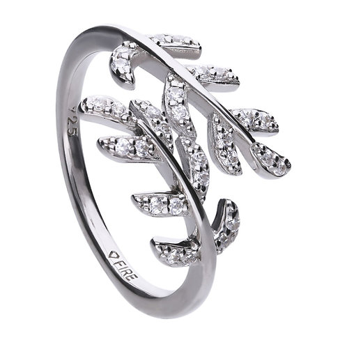 Leaf Shaped Zirconia Cross Over Ring