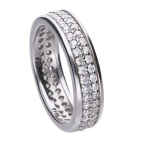 Double Zirconia Set Classic Band Ring