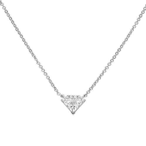 Diamond Shaped Zirconia Pave Set Necklace