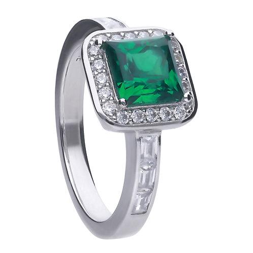 Emerald Green Zirconia Pave Set Ring
