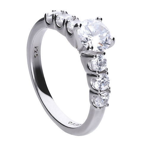 Solitaire and Six Zirconia Stone Band Ring