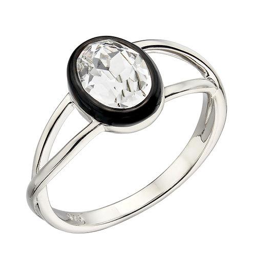 Fiorelli Clear Preciosa Crystal Ring with Black Enamel Border