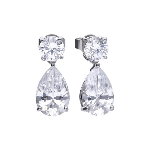 Claw Set Zirconia Teardrop Earrings