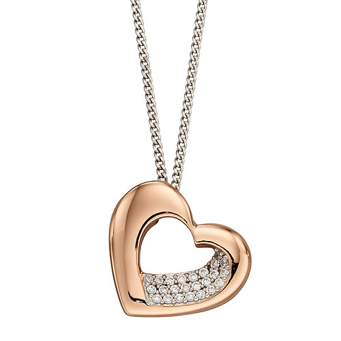 Fiorelli Rose Gold Plated Sculpted Heart Necklace with Cubic Zirconia