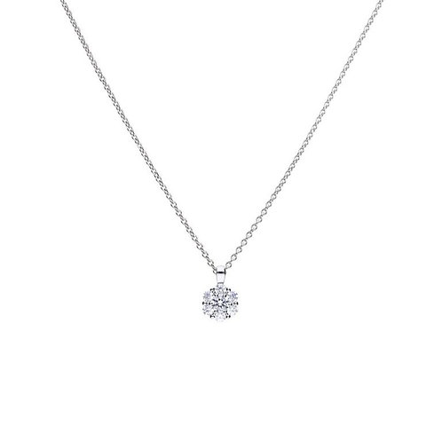 Floral Shaped Zirconia Necklace