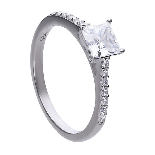 Princess Cut Zirconia Ring with Pave Set Shoulders