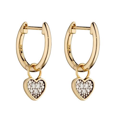 9ct Yellow Gold Diamond Charm Hoop Earrings