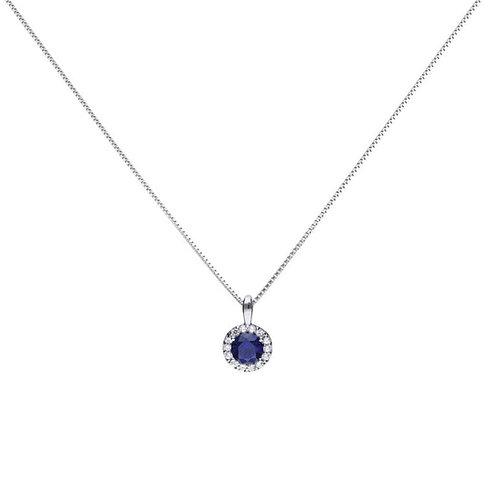 Sapphire Blue Zirconia Solitaire Necklace