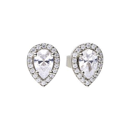 Teardrop Halo Stud Earrings