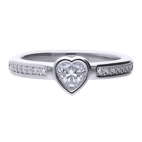 Bezel Set Zirconia Heart Shaped Ring with Pave Shoulders