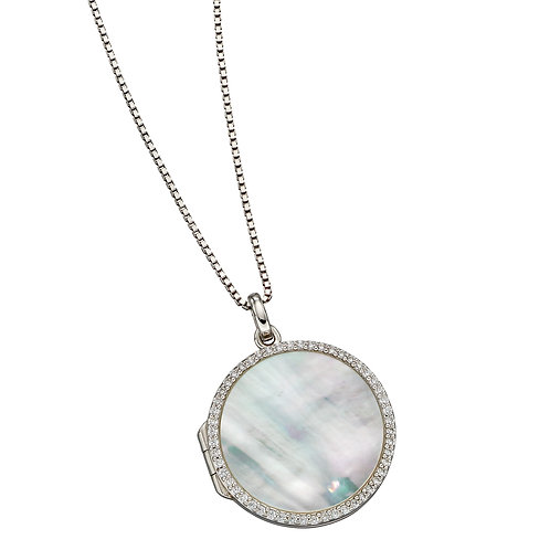 Fiorelli Mother of Pearl Round Locket with Cubic Zirconia