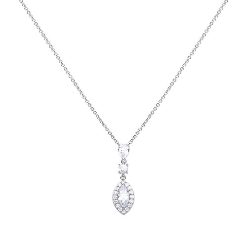 Marquise and Pave Zirconia Necklace