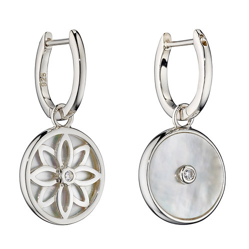 Sterling Silver Double Sided Assembled Hoop Earrings with Mother of Pearl and CZ