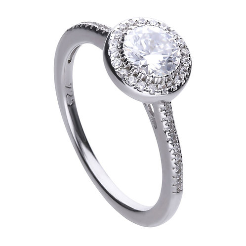 Round Pave Set Zirconia Halo Ring