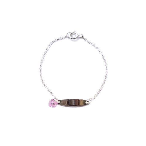 Sterling Silver Bar Bracelet with Pink Crystal Heart Charm
