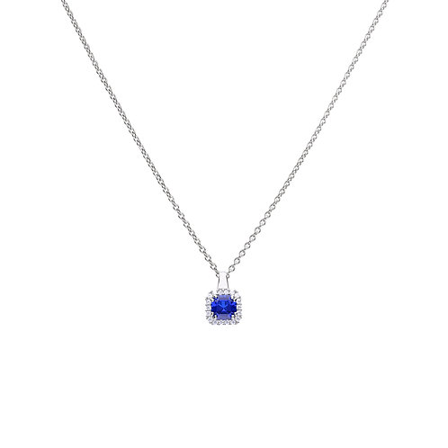 Sapphire Blue Zirconia Pave Set Necklace