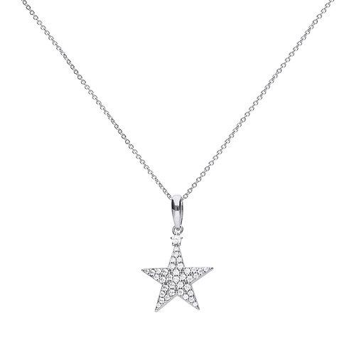 Star Shaped Pave Set Zirconia Necklace