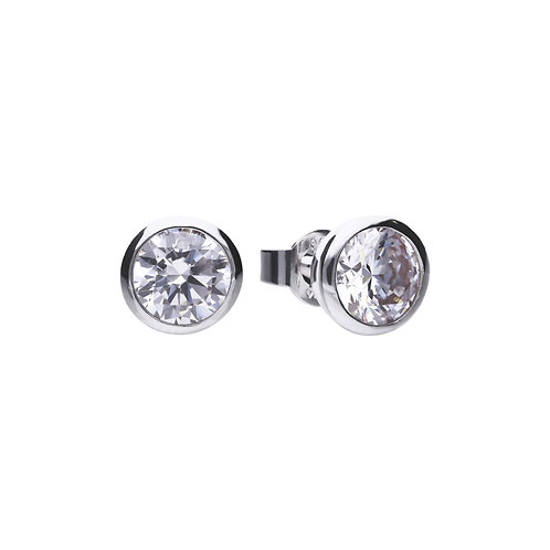 Bezel Set 2ct Zirconia Solitaire Stud Earrings