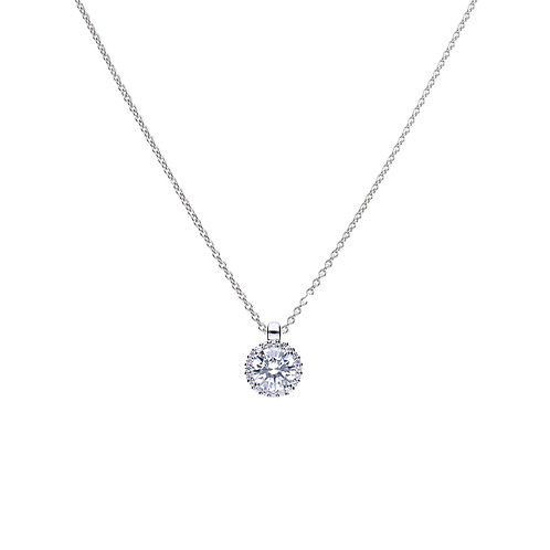 Solitaire and Pave Set Zirconia Halo Necklace