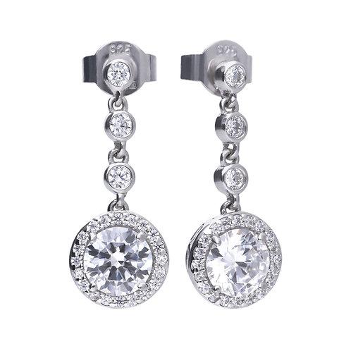Round Zirconia Cluster Drop Earrings