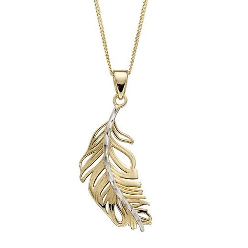 Feather Necklace in 9ct Yellow and White Gold