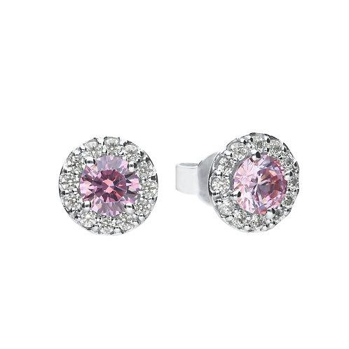 Dusky Pink Zirconia Pave Set Stud Earrings