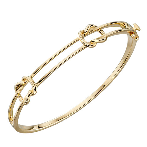 9ct Yellow Gold Double Knot Hinged Bangle
