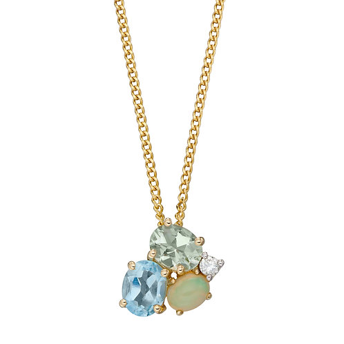 9ct Yellow Gold Multi Stone Cluster Necklace