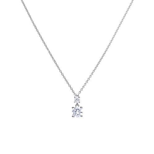 Claw Set Zirconia Double Stone Drop Necklace