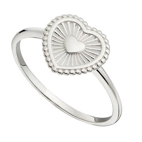 Sunray Texture Heart Ring