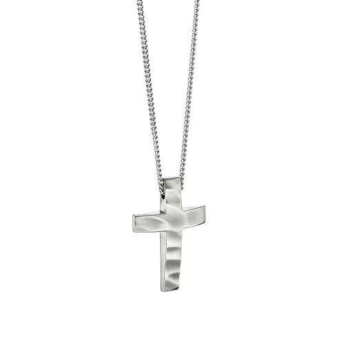Fred Bennett Ripple Effect Stainless Steel Cross Necklace