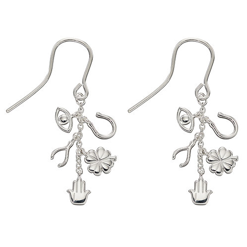 Sterling Silver Lucky Charm Drop Earrings