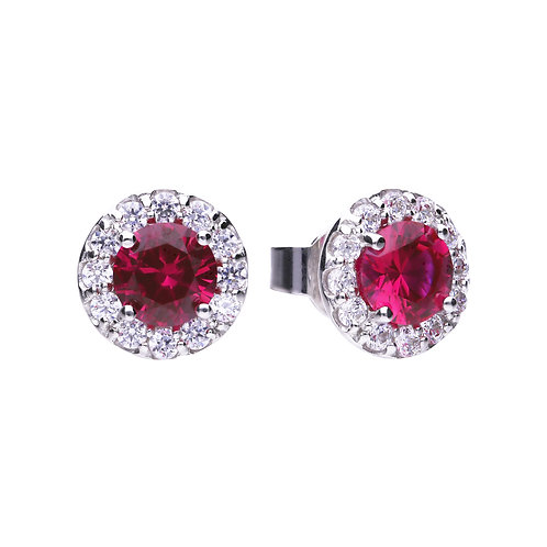Ruby Red Zirconia Round Solitaire Earrings